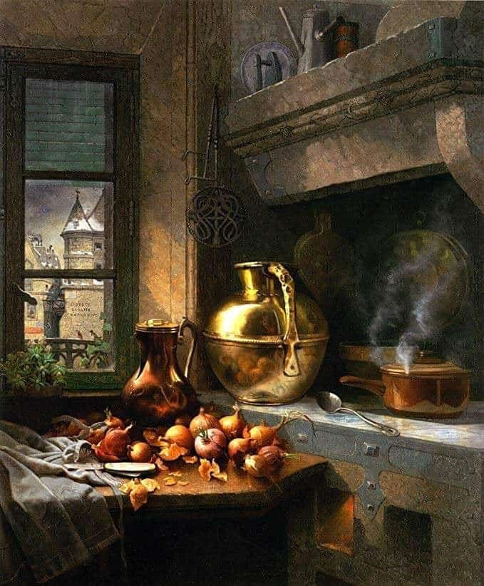 Edwin Deakin (British-American, 1838 - 1923) Kitchen Corner, 1883
