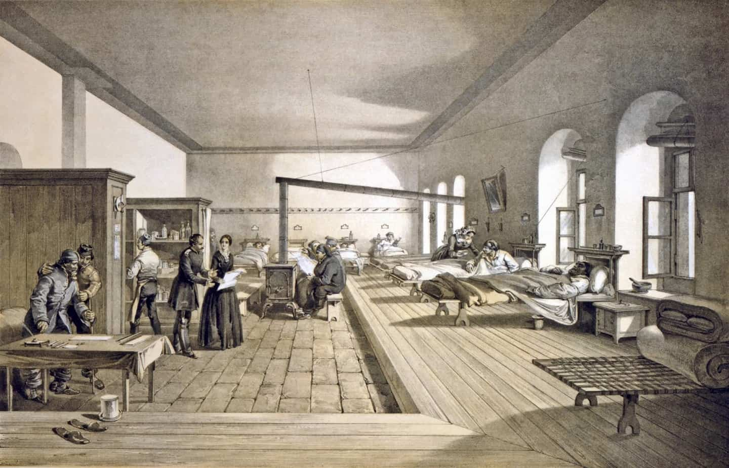 William Simpson - One of the wards of the hospital at Scutari 1856