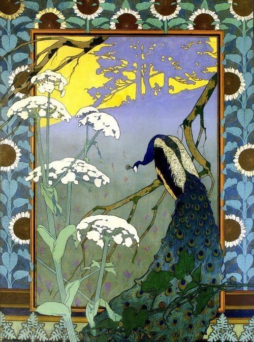 'Le Soir', a decorative panel by Camille Martin (1861-1898)