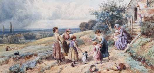 Myles Birket Foster - Teaching Dolly to Walk