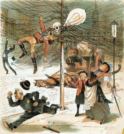 Anti-electricity cartoon from 1900