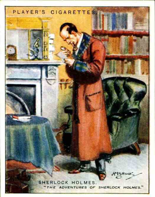 "Cigarette Card - Sherlock Holmes, Player's Cigarettes ""Characters From Fiction"" (series of 25 issued in 1933) by H. Brock"