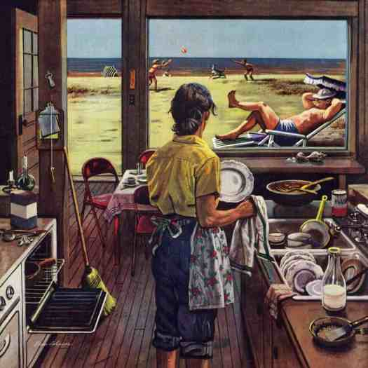 Marmont Hill Doing Dishes at the Beach by Stevan Dohanos