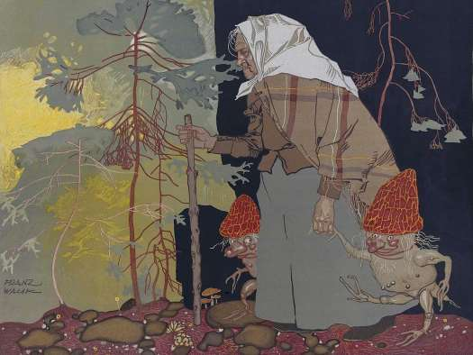 Witch with mushroom men' by Austrian painter and graphic artist Franz Wacik (1883-1938)