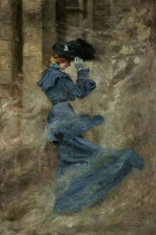 Zsigmond Vajda, (Hungarian, 1860 - 1931) The Lady in Blue in the Dust Vortex