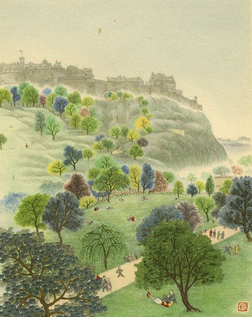 "'The castle in the summer haze' from the book ""The Silent Traveller in Edinburgh"" (1948) by Chinese poet, author and painter Chiang Yee (1903–1977)"
