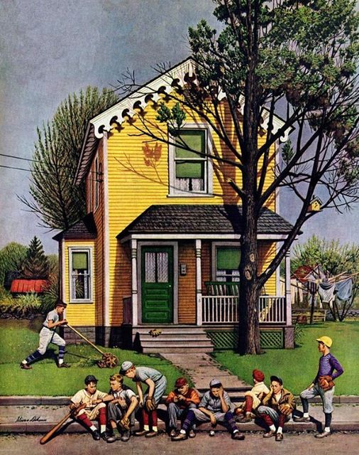 """Baseball Player Mowing the Lawn,"" Stevan Dohanos, Saturday Evening Post, July 20, 1946"
