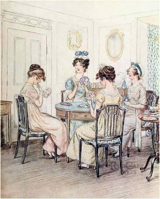 """""""We shall probably spend the evening here with Miss Susan at the card table."""" Hugh Thomson illustrates J.M. Barrie's romantic comedy 'Quality Street', 1901 cards drawing room"""