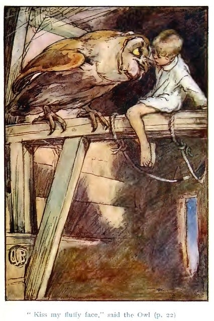 """Alice Bolingbroke Woodward (English, 1862-1951)  '""""Kiss my fluffy face,' said the owl."""" An illustration from the book """"The Brownies & Other Tales"""" written by Juliana Horatia Ewing, published by George Bell & Sons, London, 1910"""