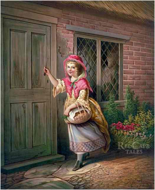 """An ominous figure stands by the window in Grandma's house. Art by Katherine Gray for """"Little Red Riding Hood"""", 1873"""