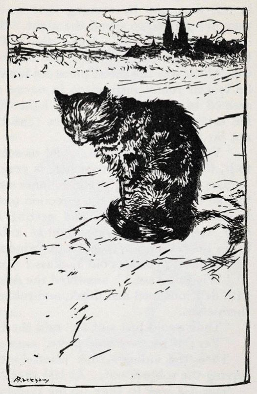 """Arthur Rackham (English, 1867-1939) Illustration to """"The Bremen Town Musicians"""" from Grimm's Fairy Tales, 1925. """"A short time after they came upon a cat, sitting in the road, with a face as long as a wet week"""""""
