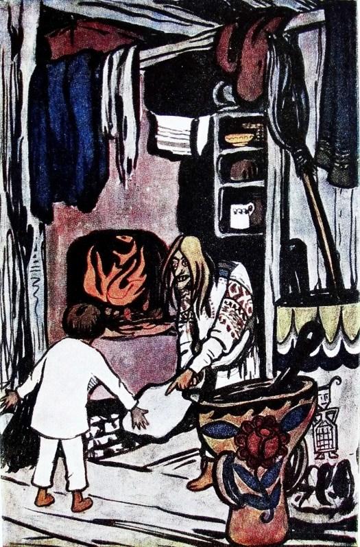 "Baba Yaga Illustration of Yelena Polenova to the Russian folk tale ""Son Filipko"", 1890s"