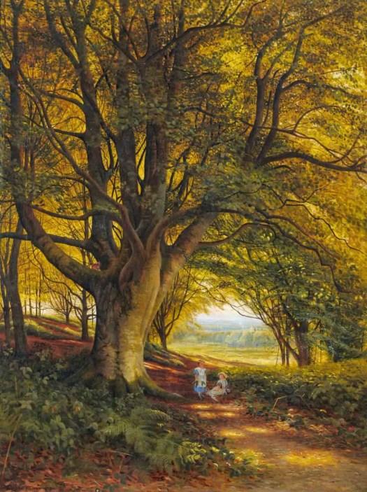 Bonomi Edward Warren - Woodland Scene in Summer with Children on a Path 1871