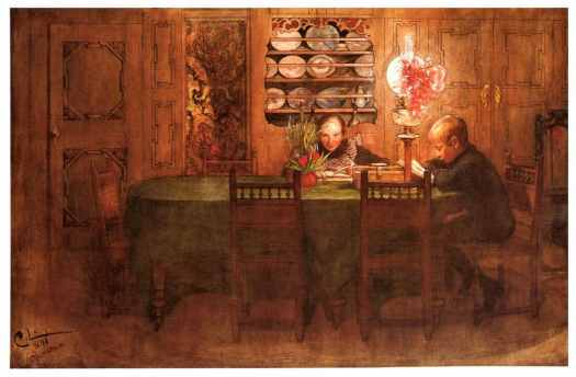 Carl Larsson children read by gas lamp