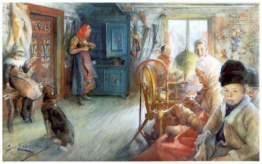 Carl Larsson's busy living room shows how women worked from dawn to dusk, rarely relaxing, but mending and spinning.