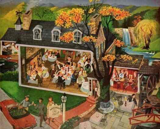 Dinning Out by Frederick Siebel (1913-1991) cutaway house