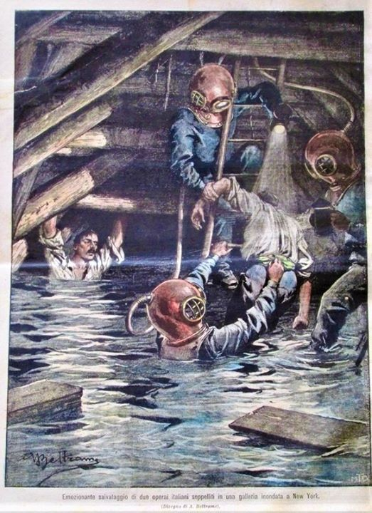 'Dramatic rescue of two Italian workers trapped in a flooded tunnel'   'La Domenica del Corriere' Cover by Achille Beltrame, 21.1.1906