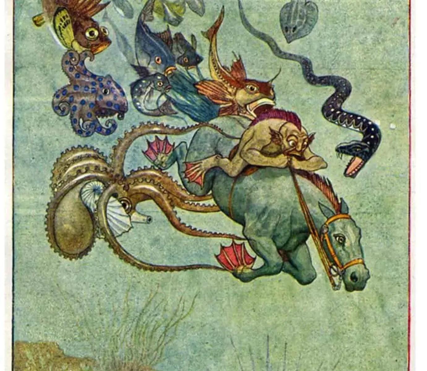 Early-twentieth century illustrations by Artuš Scheiner (1863 – 1938) riding horse underwater