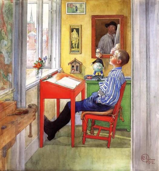 Esbjorn Doing His Homework Carl Larsson Sweden Art Nouveau