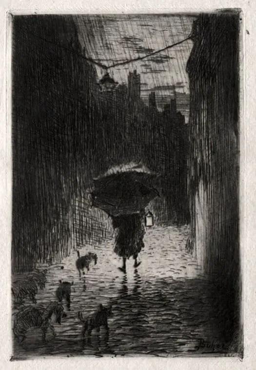 Felix-Buhot-French-1847-1898-Rain-and-Umbrella-c.1875-Etching