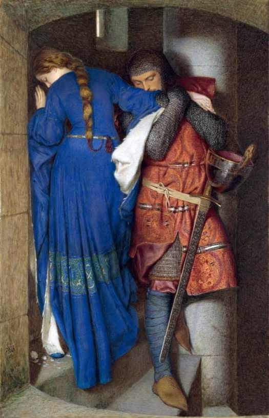 Frederic William Burton - Hellelil and Hildebrand, the meeting on the turret stairs (1864)