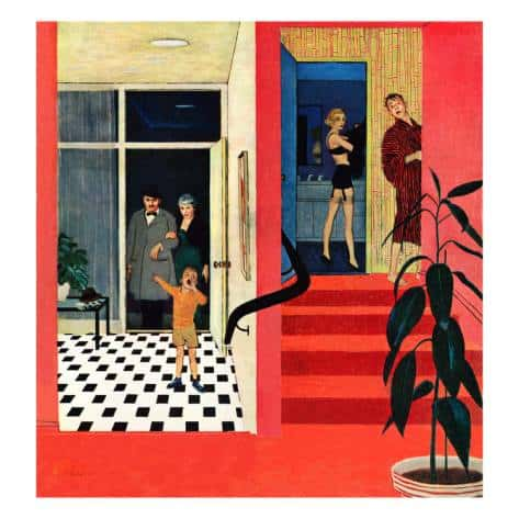 """George Hughes, """"Early Guests"""" 1957; used on the Saturday Evening Post cover November 23rd. This illustration is not 'cutaway' in the usual sense, but the composition intrigues."""