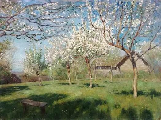 Isaac Levitan (1860 - 1900) Apple Trees in Blossom , 1896