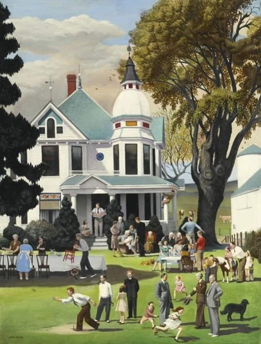 "It served as the inspiration for ""Sunday Picnic"" It appeared on the cover in 1945 of the Saturday Evening Post."