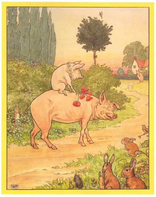 "L. Leslie Brooke (1862–1940)- ""This Little Pig cried 'Wee, wee, wee! I can't find my way home!'"" from ""Ring O' Roses, A Nursery Rhyme Picture Book,"" Frederick Warne & Company, Ltd., 1922"