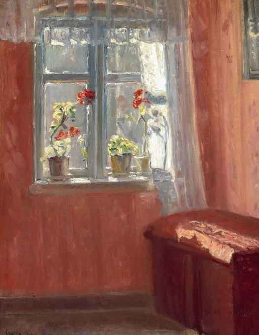 Michael Ancher (Danish , 1849 - 1927) The Red Living Room, 1914