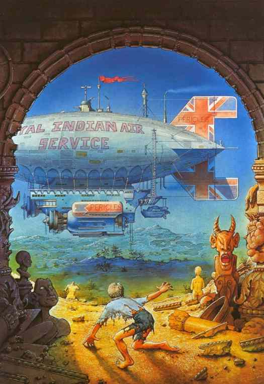 Patrick Woodroffe (1940 - 2014) 1971 book cover illustration for The Warlord Of Air by Michael Moorcock airship