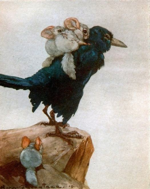 Harry Rountree,  The Doings of Furrymouse,  1919 chincilla riding crow