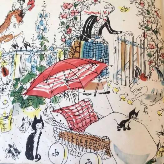 1948 illustration from Pitschi written & illustrated by Hans Fischer umbrella
