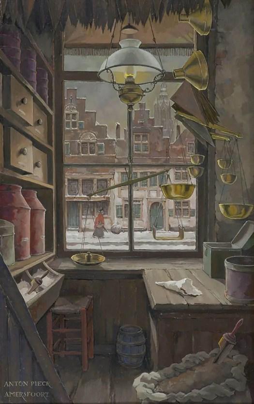 Anton Pieck (Dutch,1895-1987) - Grocery store on 't Havik, Amersfoort