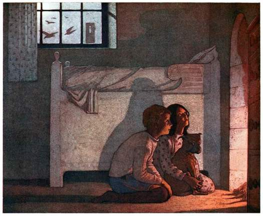 By Frederick Cayley Robinson (1862 - 1927)--Illust. f. The blue bird, a fairy play in six acts, Maurice Maeterlinck, 1920