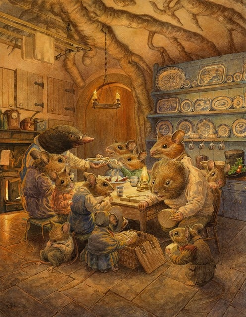 Chris Dunn - British Artist & Illustrator  Mice having dinner in the mole's kitchen  watercolor and gouache