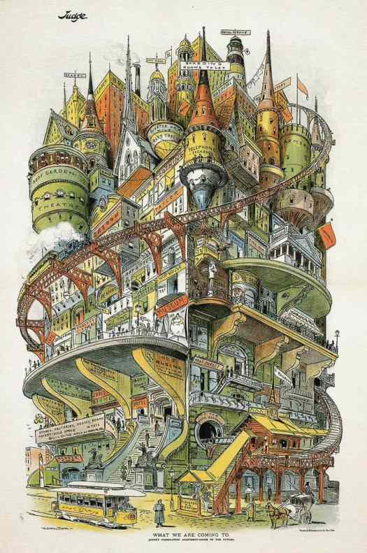 Grant E. Hamilton (1862 - 1926) 1895 futuristic city Illustration from Judge magazine What We Are Coming To (whole city in one building)
