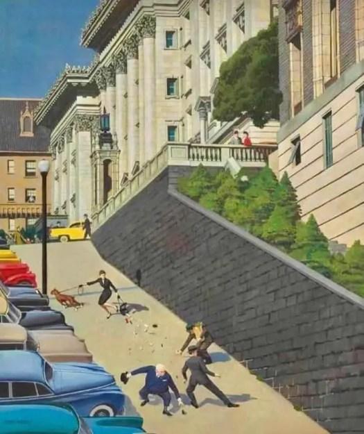 John Philip Falter Spilled Purse On Steep Hill 1955