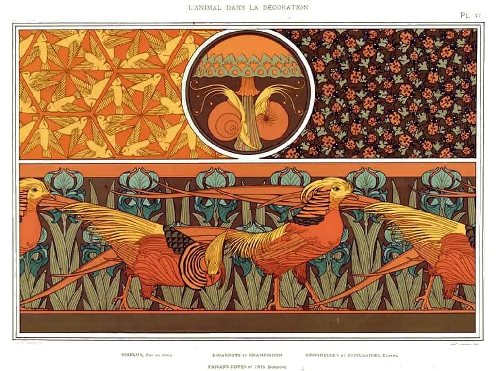 VERNEUIL, Maurice Pillard (1869-1942). L'Animal dans la décoration. Paris- Librairie centrale des Beaux-arts, [1897] Birds Snails