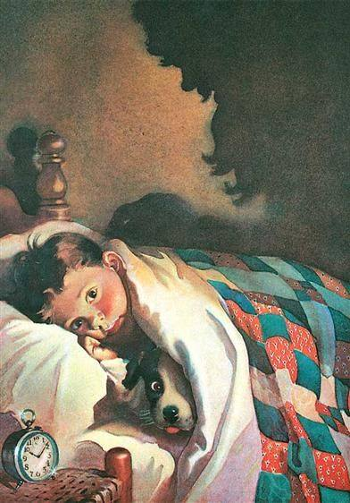 Boy and Dog by Frances Tipton Hunter (1896-1957) bed