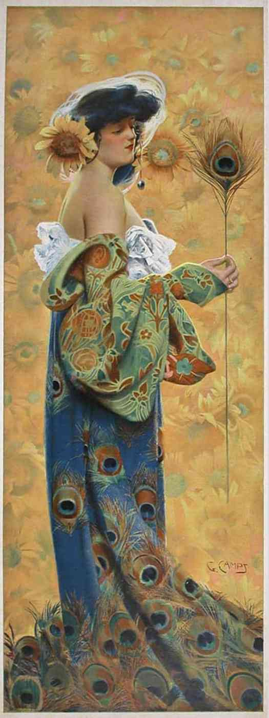 Gaspar Camps (1874-1942) peacock fashion