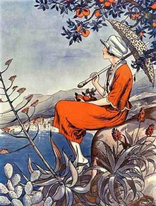 Illustration from the cover of La Vie Parisienne Magazine by George Pavis 1920s umbrella