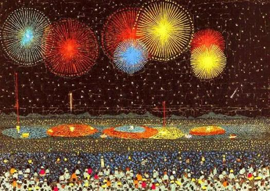 Kiyoshi Yamashita (Japan, 1922-1971), Nagaoka Fireworks, 1950 (Lithograph of a collage)