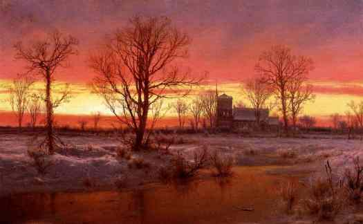 Louis Remy Mignot - Church at Dusk