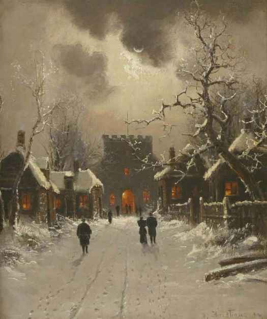 Nils Hans Christiansen (Danish, 1850 - 1922) Walking to Evening Church in the Snow
