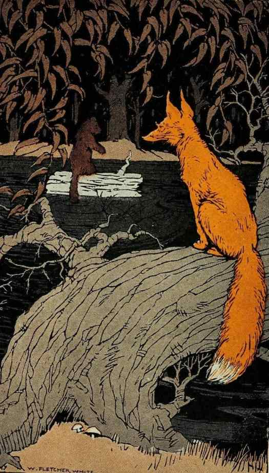 This illustration is from Stories the Iroquois Tell Their Children by Mabel Powers, illustrated by W Fletcher White, 1917. The viewpoint reminds me of Klassen's cover illustration for Pax, in which the reader looks over the animal's shoulder and therefore empathises.