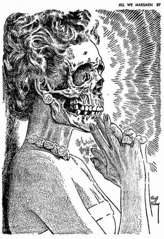 Virgil Finlay skull face