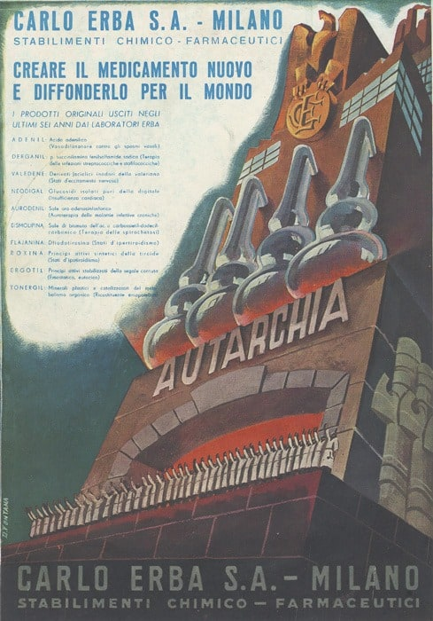 'Autarky in the field of Medecines' Poster by D. Fontana, circa 1930 factory