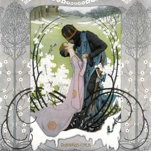 Briar Rose or Sleeping Beauty, The Kiss, Illustraion by Heinrich Lefler (1905)