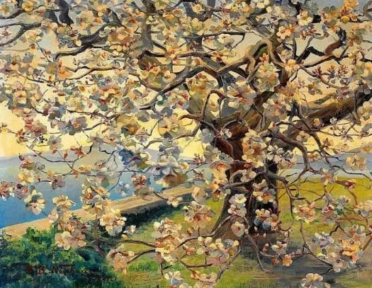 Fritz Berthold-Neuhaus, Blossoming Magnolia Tree, 1924